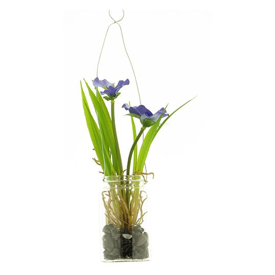 Kunst Pansy in glass pot hanger blue - 24 cm